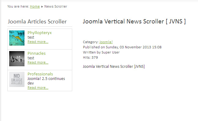Joomla Vertical News Scroller